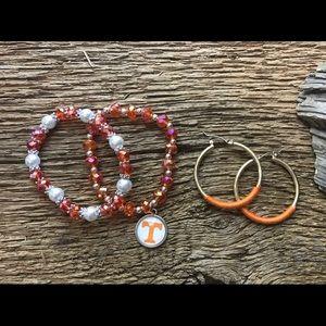 Jewelry - Tennessee Vols crystal bracelet and hoop earrings